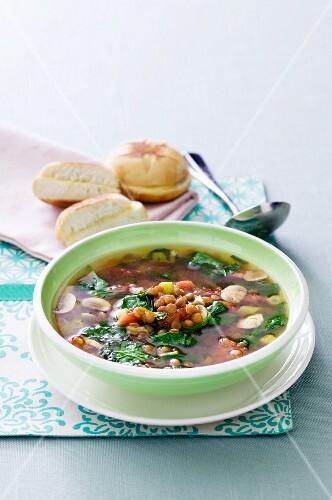 Lentil Vegetable Soup in a Bowl