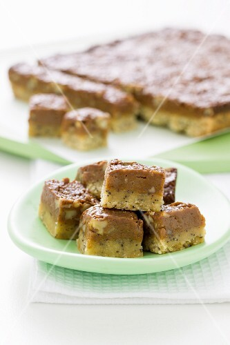Caramel and peanut butter fudge with black sesame seeds