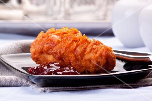 Chicken breast with a cornflake crust