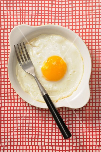 A fried egg with a fork