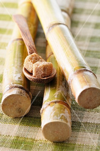 Cubes of raw sugar on a wooden spoon