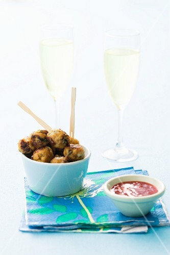 Asian chicken meatballs with dip