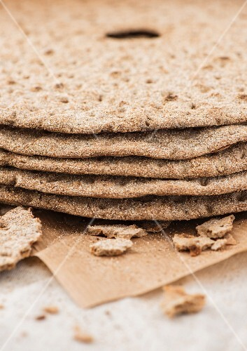 A stack of round rye crispbreads from Sweden