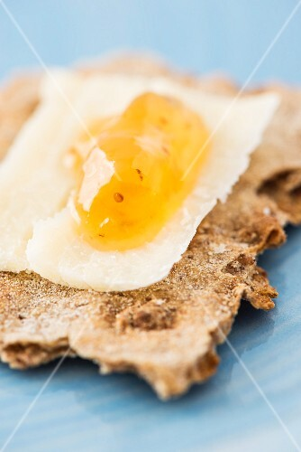 Rye crispbread from Sweden with parmesan and apricot jam