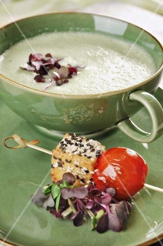 Cucumber gazpacho with a barbecued tofu and tomato skewer