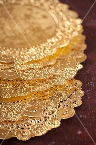 Gold silk doilies