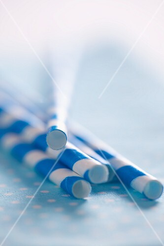Blue and white striped drinking straws