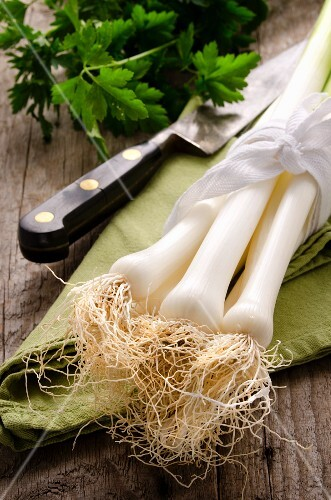 Leeks on a green napkin with a knife and some parsley