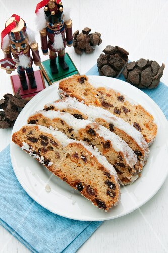 Christmas stollen, sliced
