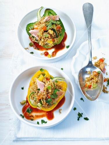 Stuffed peppers with trout fillets