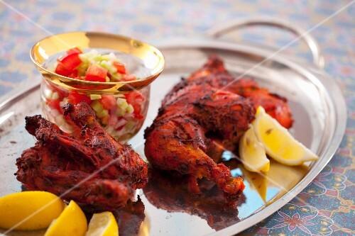 Chicken tikka (marinated chicken pieces, India)