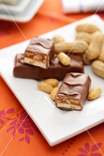 Chocolate bars with peanuts