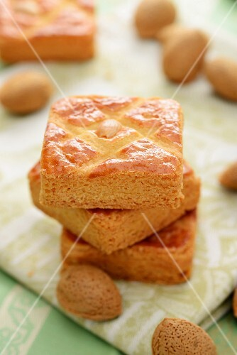 Almond slices, stacked