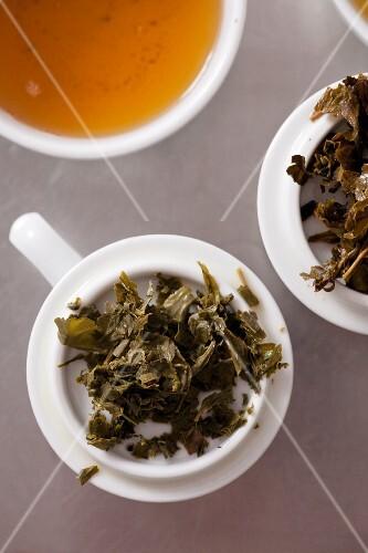Leftover green tea leaves