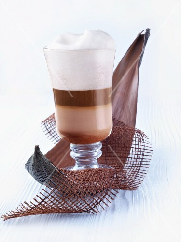 Coffee with chocolate and milk foam