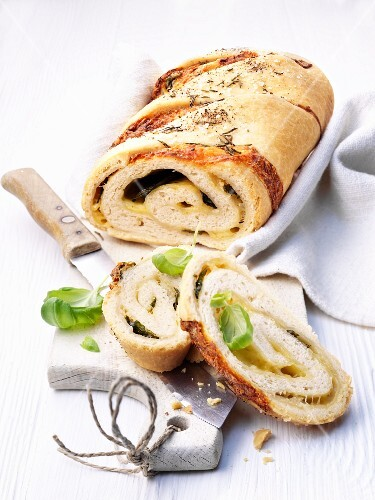 Italian mozzarella bread, sliced