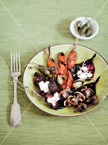 Roast vegetables with goat cheese and capers