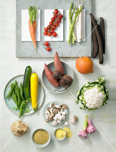 Assorted vegetables, mushrooms and grains
