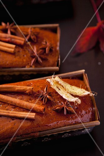 Cinnamon and ginger cake garnished with cinnamon sticks and dried leaves