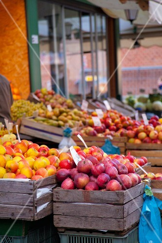 Various types of apples on Polish market place
