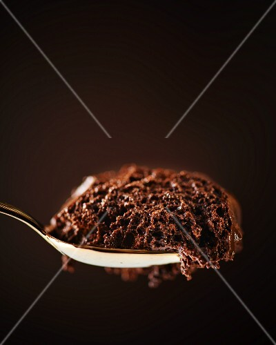 A spoonful of chocolate mousse