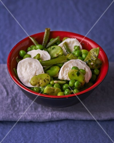A green salad of beans and peas with mozzarella