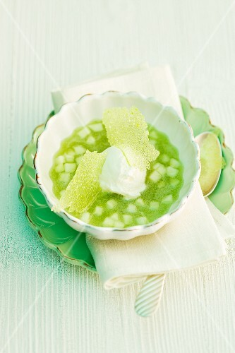 Green apple soup with ice cream