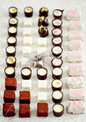 Assorted pralines in rows