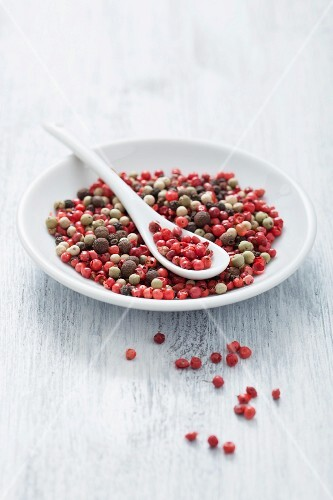 Assorted peppercorns on a plate with a spoon