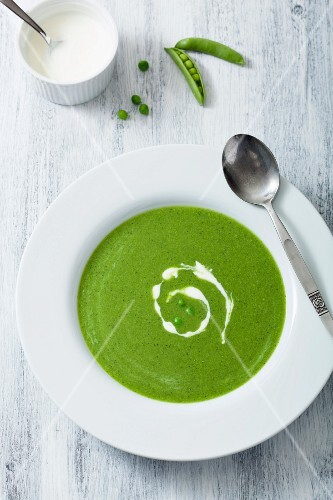 Pea soup with sour cream (top view)