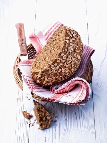 Oat bread in a bread basket