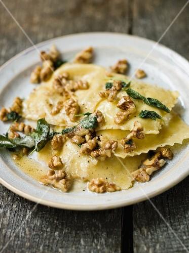 Ravioli with sage and walnuts