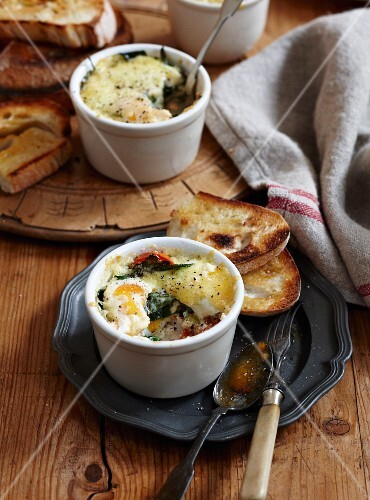 Oeufs en cocotte with smoked fish