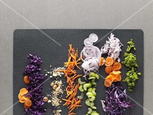 Finely sliced vegetables and chopped nuts (view from above)