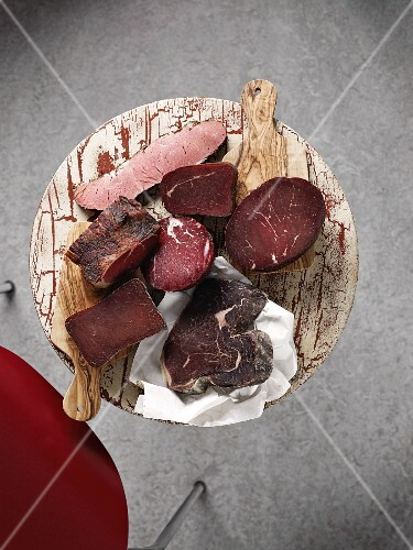 Assorted chunks of smoked ham (view from above)