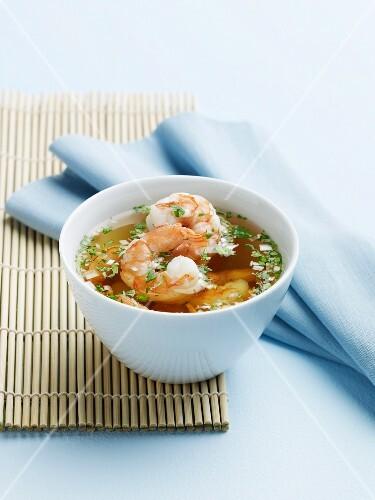 Thai Shrimp Soup in a White Bowl