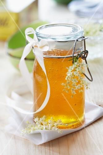 A jar of elderflower jelly