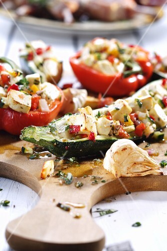 Courgette and peppers stuffed with vegetables and feta