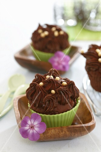 Chocolate muffins topped with chocolate buttercream