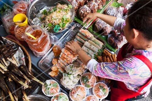 Spring rolls at a street café in Cambodia