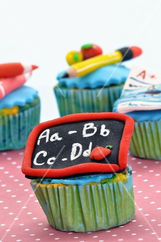 Cupcakes decorated with a school theme