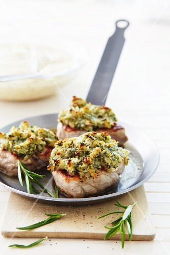 Medallions of pork with a herb crust