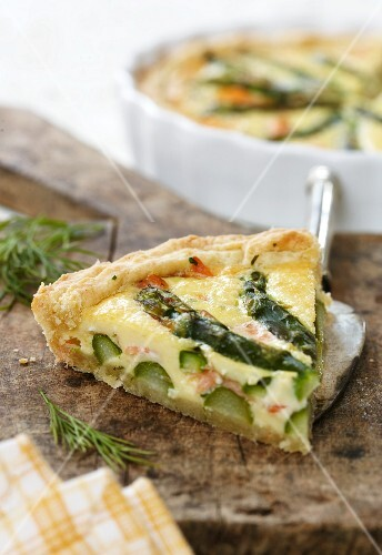 A slice of asparagus quiche