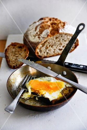Fried egg in the pan with rustic bread
