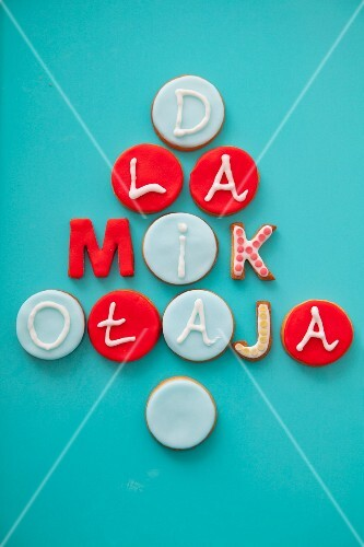 Marzipan-topped biscuits decorated with letters spelling 'Dla Mikotaja' ('for St. Nicholas', Poland)