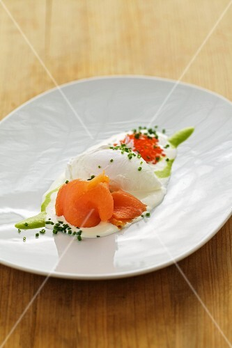 Soft-boiled egg with smoked salmon and char caviar