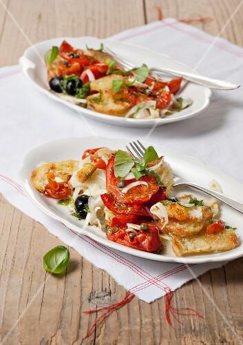 Panzanella (bread salad with tomatoes, Tuscany, Italy)