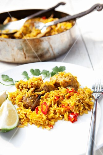 Fried rice with pork and sliced chillies