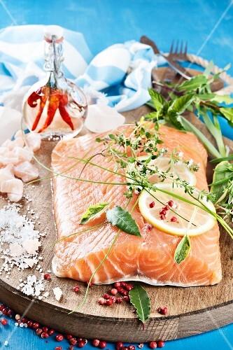 Organic salmon with herbs