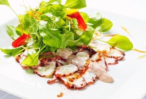 Octopus terrine with spinach salad